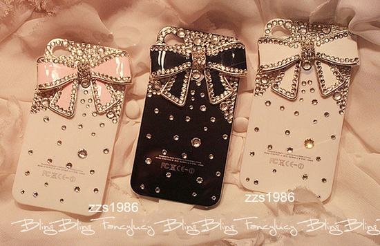 iPhone 4 Case, iPhone 4s Case, iPhone Case, iPhone hard Case,iphone 4 skin, cute iphone 4 case bling bowknot. $13.98, via Etsy.