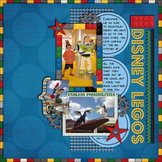 Disney legos scrapbooking layout. Awesome texture and background. #disney #scrapbooking #layouts #toystory