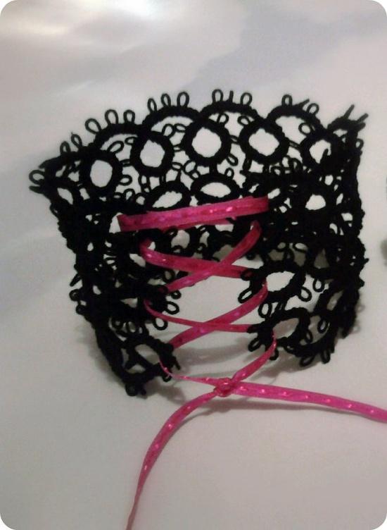 Liq-er-ish tatted lace cuff