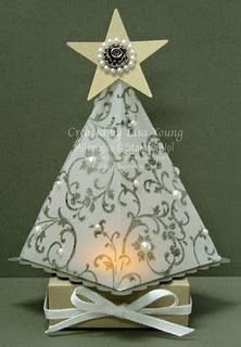 Christmas Tree Luminaire Tutorial  (this may not be made from SU petal cone die but it sure looks like it could)