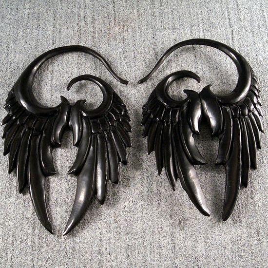 Raven wing earrings