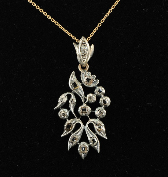 Rare Georgian .80Ct diamond pendant, foliate design with table cut diamonds, rose gold and silver