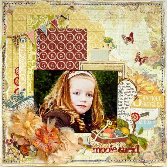 cute little girl layout. great color scheme and use of several different papers. love it. #scrapbook #layouts