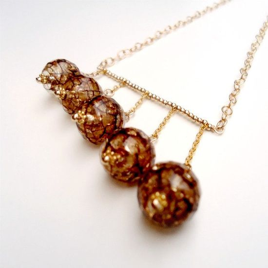 Brown Necklace Yellow Gold Jewelry Crackle by jewelrybycarmal, $62.00