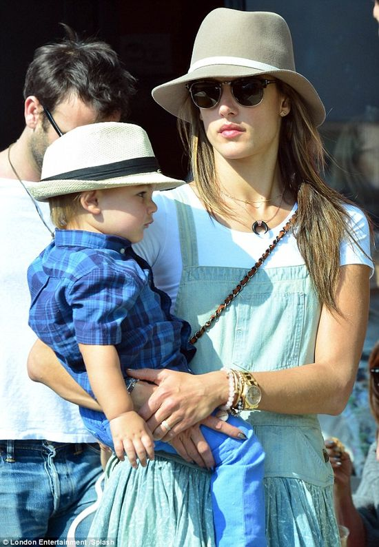 Loving the style: Victoria's Secret Model Alessandra Ambrosio was also seen wearing the classic style hat as she strolled along Abbot Kinney...