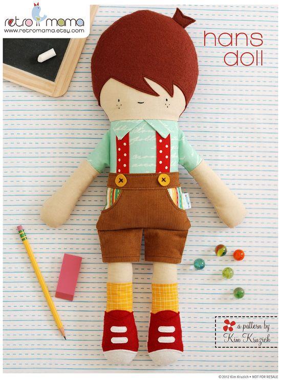 Doll Pattern - Boy Doll Sewing Pattern - Hans Doll - Stuffed Toy Pattern. $12.00, via Etsy.