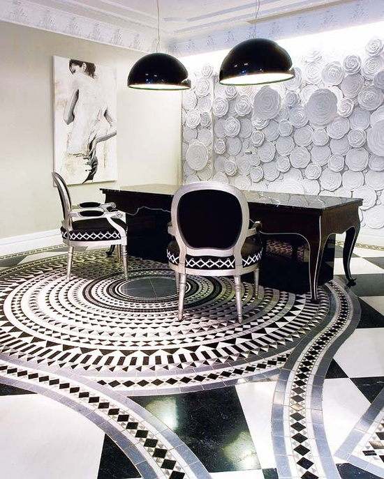 """From La Dolce Vita Blog """"This part of the lobby, along with many of the common areas, features beautiful Sicis tile with a pattern designed by Aplomo. The Skygarden light fixtures are from Flos and the beautiful three-dimensional mural is the work of artist, Javier Madrid."""" - on the Hotel Selenza, Madrid"""
