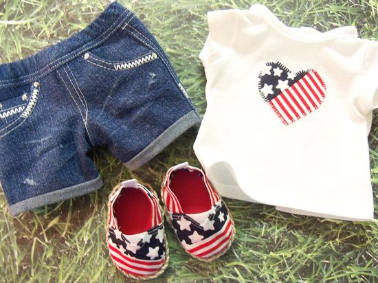Go USA  3 Piece Outfit. via Etsy for American Girl Dolls.  Made with the Free tee pattern, Jeans bundle (as shorts) and the JANES Patterns avaialble @ www.libertyjanepa...