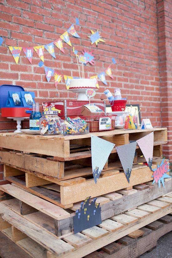 Vintage Superhero Birthday Party via Karas Party Ideas