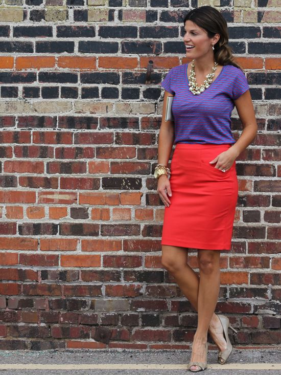 T-Shirt + pencil skirt + accessories = fun work outfit