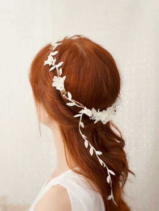 White flower crown, floral circlet, leaf head wreath, wedding hair accessories - dove song. $45.00, via Etsy.