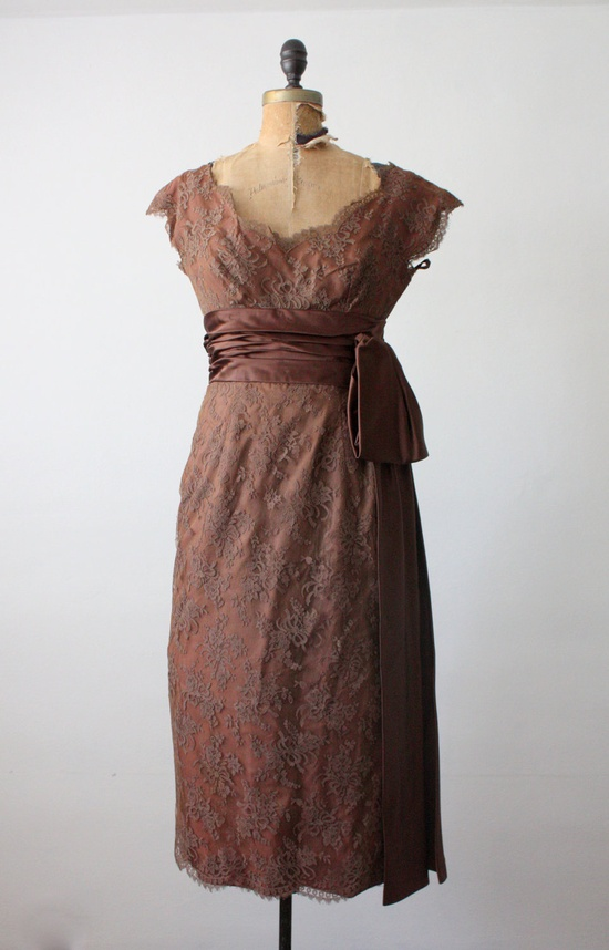 1950s cocoa lace dress