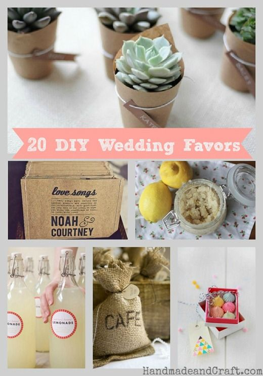 20 DIY Wedding Favors - simply chic and cheap...lol! #diy #wedding