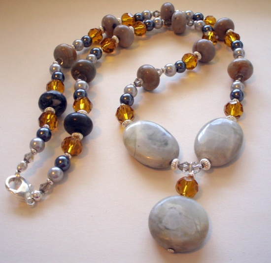 Tan Grey and Gold  Beaded Necklace Picasso by CloudNineDesignz, $35.00