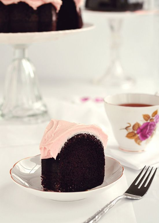 Dark Chocolate Chiffon Cake with Fluffy Rosewater Frosting