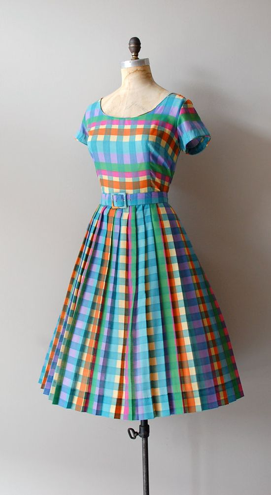 #summer #fashion #plaid #1950s #partydress #vintage #frock #retro #sundress #tartan #checkered #feminine #belted