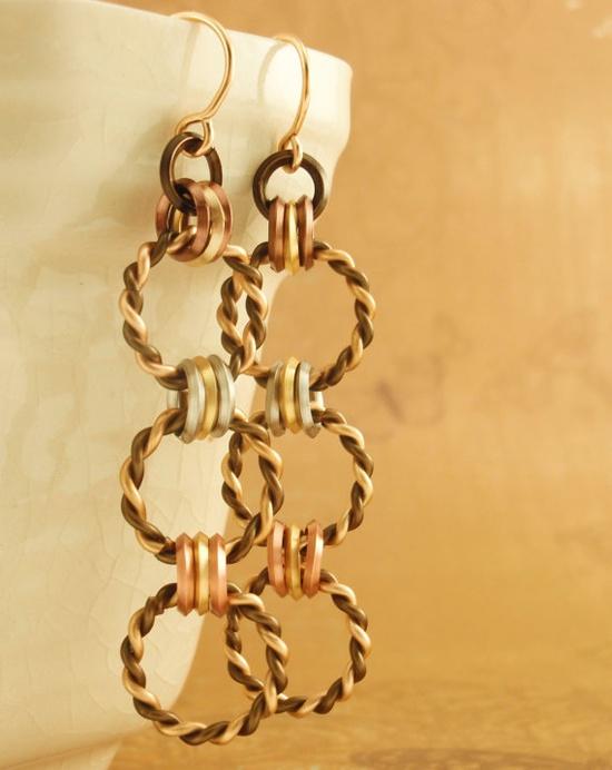 Mixed Metals Earrings - Twisted Linked Loops. $18.00, via Etsy.