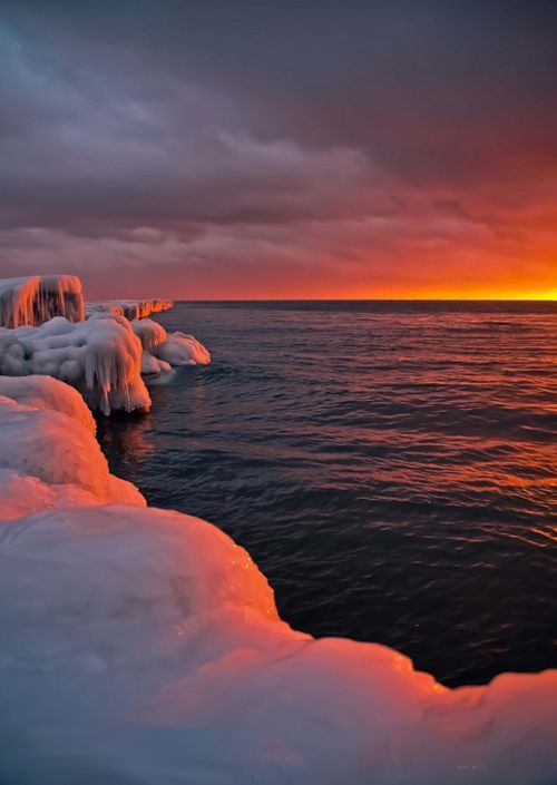 Sunset on icy shores