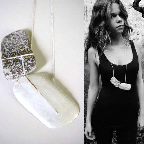Claire Lavendhomme  Pendant: Passage 2012  Silver, stone, enamel  25 x 4,5 x 2 cm