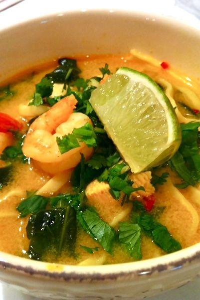 chicken & shrimp coconut curry soup