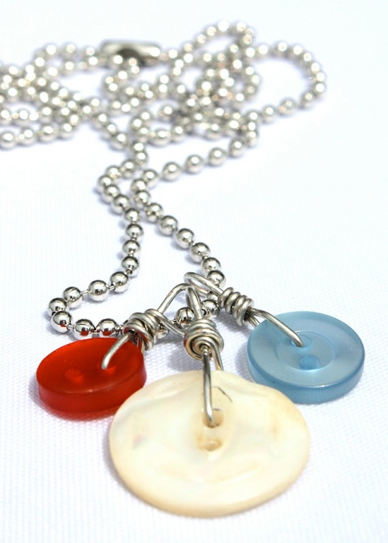 Upcycled Red White & Blue Button Pendant by OneShadeGreener, $15.00