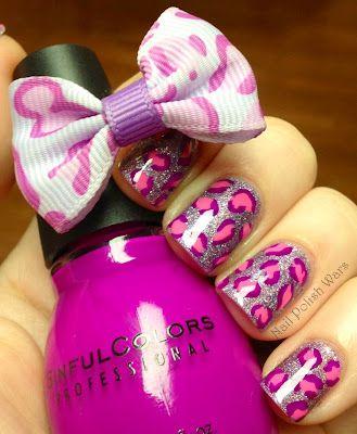 Pink & Purple Leopard Nails