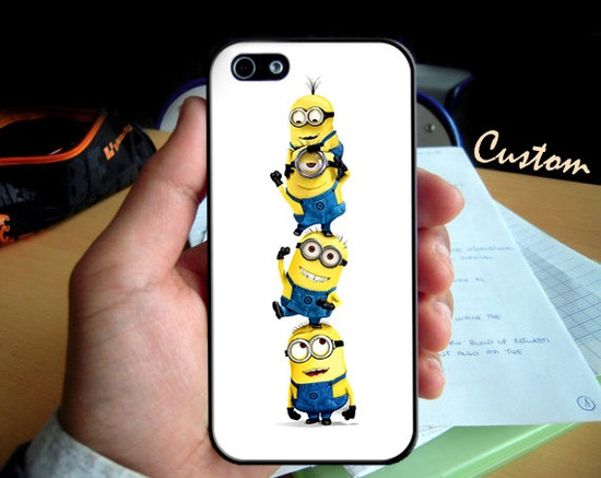 Funny Despicable Me Minions - Photo Hard Case design for iPhone 4/4s Case, iPhone 5 Case, Black or White ( Choose Option )