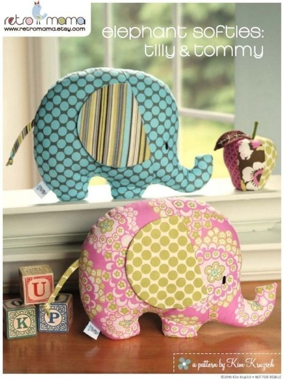 Elephant stuffed toy sewing pattern