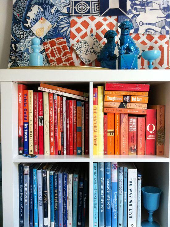 Image: HGTV  #books #orange #blue #decorating #style