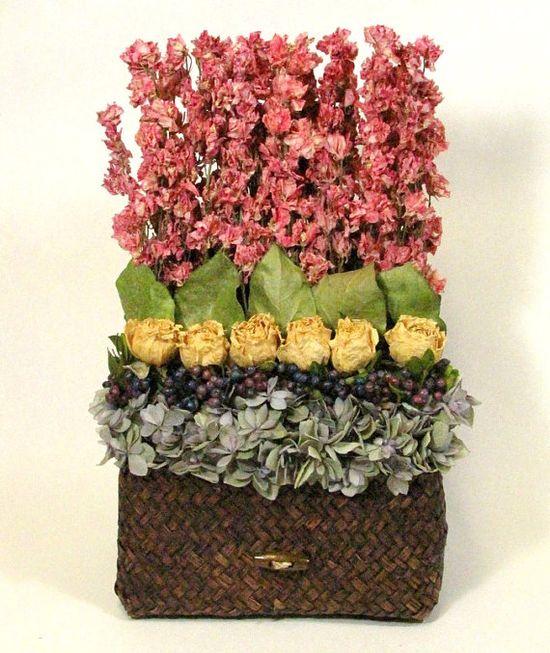 stacked dried flower arrangement