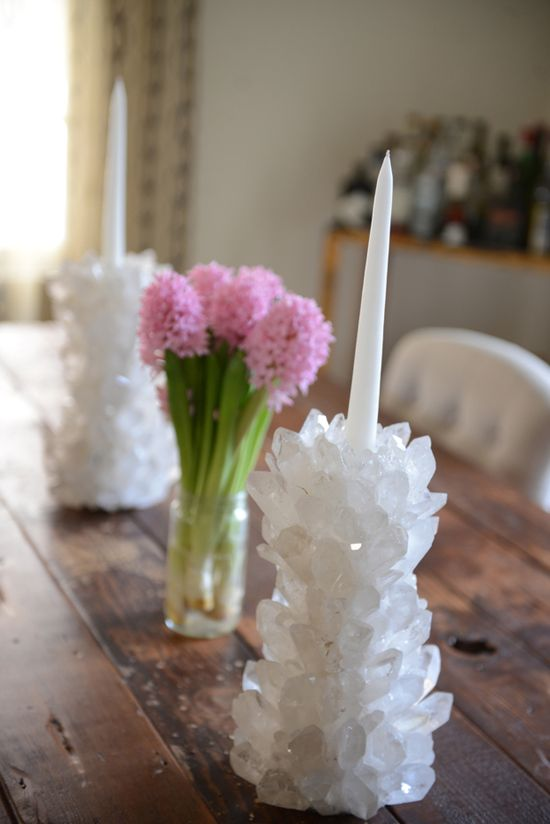Crystal/ quartz candle stick holders.