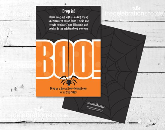 "Host a ""BOO!"" Bash this Halloween with fun Orange and Black Halloween Party Invite!"