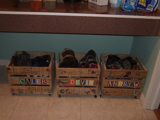 Personalized Pallet Crates.  in the garage awesome.