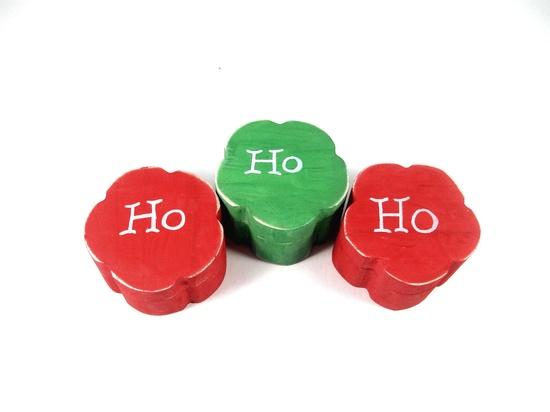 Shabby Chic Christmas trinket boxes.  Holiday decorations. Set of THREE.. $21.00, via Etsy.