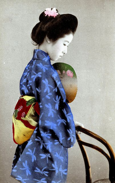 Dragonfly Kimono 1905   ::   The dragonfly is a late summer to early autumn motif. ( brilliantly colorized photo !)