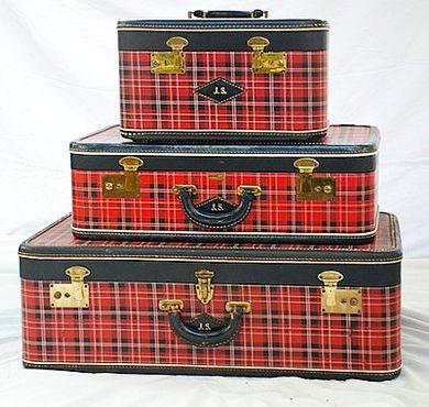 Set of Vintage Red Plaid suitcases