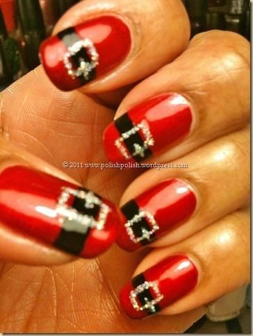 """**DON'T CLICK ON THE PIC** It doesn't take you anywhere.  Yep, I love the idea of doing one nail like this better.  """"Santa Belt Nails.. Would be cute to do on one nail and the rest just a solid color(red)"""""""