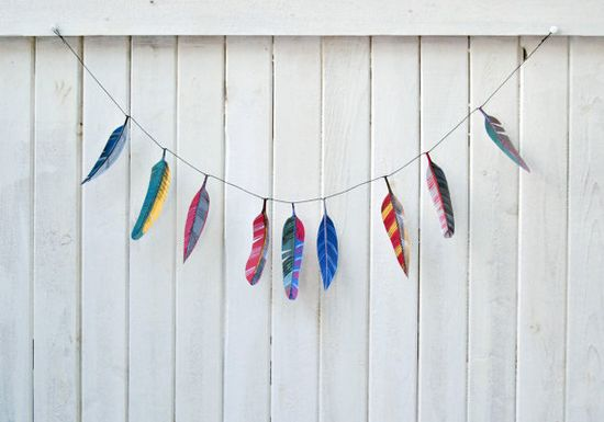 Illustrated feather garland