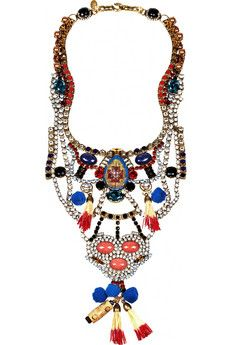 ERICKSON BEAMON Tribal Patchwork gold-plated Swarovski crystal bib necklace