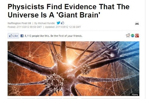 """According to a study published in Nature's Scientific Reports, the universe may be growing in the same way as a giant brain - with the electrical firing between brain cells 'mirrored' by the shape of expanding galaxies. The results of a computer simulation suggest that """"natural growth dynamics"""" - the way that systems evolve - are the same for different kinds of networks - whether its the internet, the human brain or the universe as a whole."""