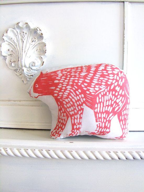 Plush Bear Pillow in Coral. Woodblock Printed. Choose ANY Color.