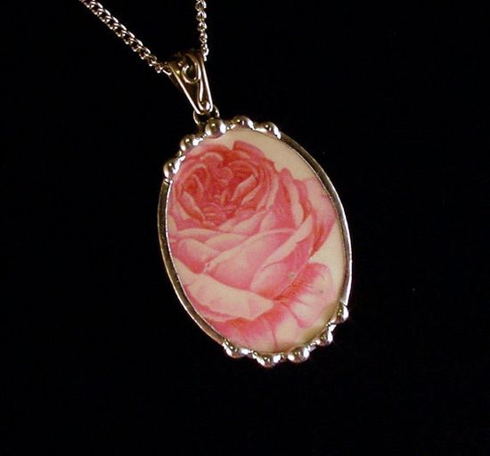 Broken china jewelry oval pendant by Dishfunctional Designs. Made from a broken plate, cabbage rose