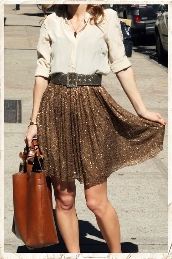 Love the sparkle in this skirt