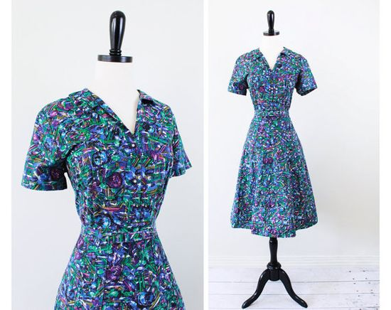vintage 1940s dress // 40s Day Dress with Blue Green and Purple Abstract Print and Matching Belt  $78