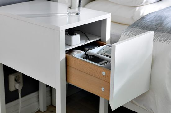 The NORDLI bedside table is a super smart way to store your electronic gear. The power cord stays hidden in a groove in the back, so you can keep all your gizmos charged and ready to use without cluttering up your bedroom.