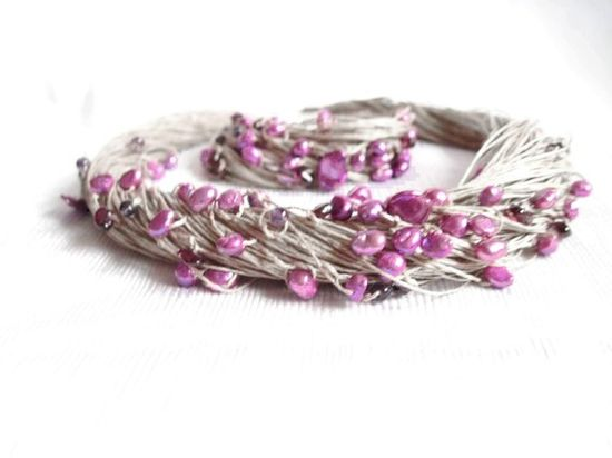 Natural Purple Pearls Necklace Garnet Amethyst by DreamsFactory, $80.00