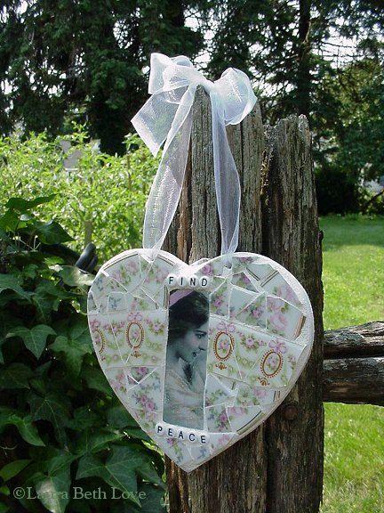 Broken china mosaic heart made by Laura Beth Love, Dishfunctional Designs