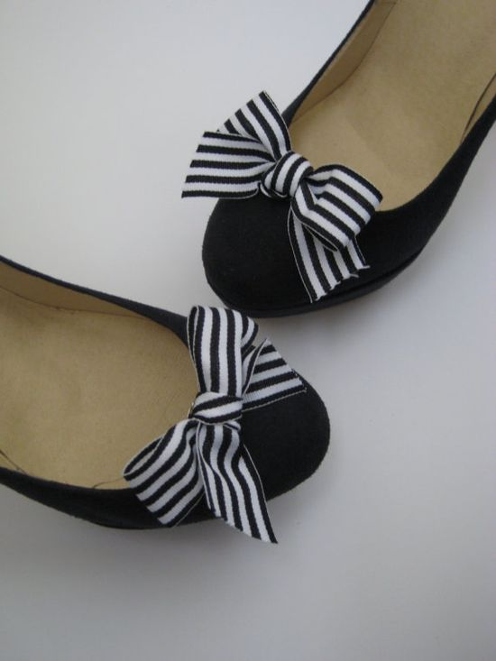 Black  & White Striped  Bow Shoe Clips by ElizaJaneClips on Etsy, $20.00