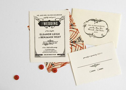 love the art deco look of this invitation suite.