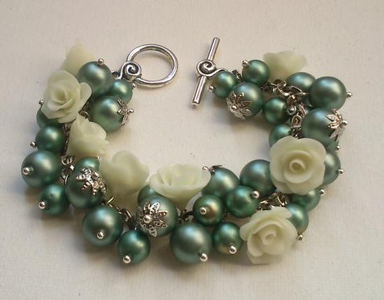 Pearl bracelet-Flower bracelet-Green/Grey bracelet